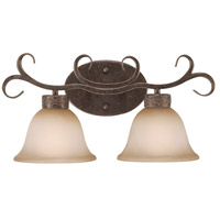 Craftmade 23602-BA Brookshire Manor 2 Light 19 inch Burnished Armor Vanity Light Wall Light in Light Umber Etched