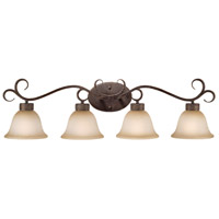 Brookshire Manor 4 Light 37 inch Burnished Armor Vanity Light Wall Light in Light Umber Etched