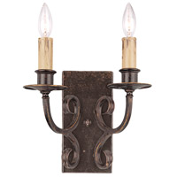 Jeremiah by Craftmade Brookshire Manor 2 Light Wall Sconce in Burnished Armor 23622-BA