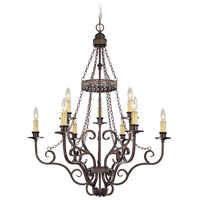Jeremiah by Craftmade Brookshire Manor 9 Light Chandelier in Burnished Armor 23629-BA