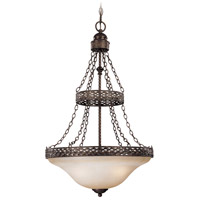 Brookshire Manor 3 Light 19 inch Burnished Armor Inverted Pendant Ceiling Light in Light Umber Etched