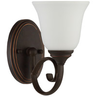Barrett Place 1 Light 6 inch Metropolitan Bronze Wall Sconce Wall Light in White Frosted Glass