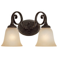 Craftmade 24202-MB Barrett Place 2 Light 15 inch Mocha Bronze Vanity Light Wall Light in Light Umber Etched