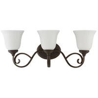Barrett Place 3 Light 24 inch Mocha Bronze Vanity Light Wall Light in White Frosted Glass