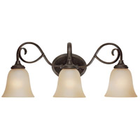 Craftmade 24203-MB Barrett Place 3 Light 24 inch Mocha Bronze Vanity Light Wall Light in Light Umber Etched
