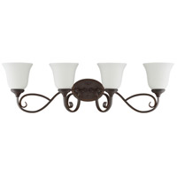 Barrett Place 4 Light 33 inch Mocha Bronze Vanity Light Wall Light in White Frosted Glass