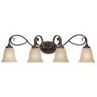 Barrett Place 4 Light 33 inch Mocha Bronze Vanity Light Wall Light in Light Umber Etched