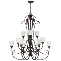 Barrett Place 12 Light 44 inch Metropolitan Bronze Chandelier Ceiling Light in White Frosted Glass