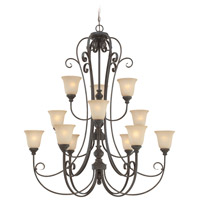 Craftmade 24212-MB Barrett Place 12 Light 44 inch Mocha Bronze Chandelier Ceiling Light in Light Umber Etched