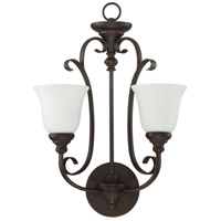 Barrett Place 2 Light 16 inch Metropolitan Bronze Wall Sconce Wall Light in White Frosted Glass