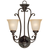 Craftmade 24222-MB Barrett Place 2 Light 16 inch Mocha Bronze Wall Sconce Wall Light in Light Umber Etched