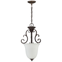 Barrett Place 3 Light 13 inch Mocha Bronze Foyer Light Ceiling Light in White Frosted Glass