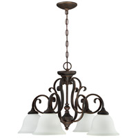 Craftmade 24224-MB-WG Barrett Place 4 Light 27 inch Mocha Bronze Chandelier Ceiling Light in White Frosted Glass