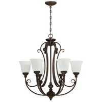 Barrett Place 6 Light 27 inch Mocha Bronze Chandelier Ceiling Light in White Frosted Glass