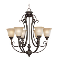 Barrett Place 6 Light 27 inch Mocha Bronze Chandelier Ceiling Light in Light Umber Etched
