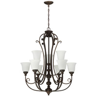 Barrett Place 9 Light 33 inch Metropolitan Bronze Chandelier Ceiling Light in White Frosted Glass