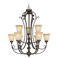 Craftmade 24229-MB Barrett Place 9 Light 33 inch Mocha Bronze Chandelier Ceiling Light in Light Umber Etched photo thumbnail