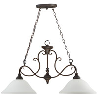Craftmade 24232-MB-WG Barrett Place 2 Light 35 inch Mocha Bronze Island Light Ceiling Light in White Frosted Glass
