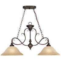 Barrett Place 2 Light 35 inch Mocha Bronze Island Light Ceiling Light in Light Umber Etched