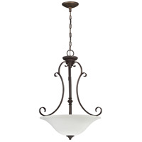 Barrett Place 3 Light 20 inch Metropolitan Bronze Pendant Ceiling Light in White Frosted Glass