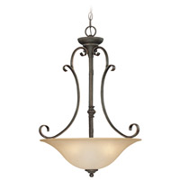 Craftmade 24243-MB Barrett Place 3 Light 20 inch Mocha Bronze Inverted Pendant Ceiling Light in Light Umber Etched