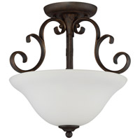 Barrett Place 3 Light 15 inch Mocha Bronze Semi-Flushmount Ceiling Light in White Frosted Glass