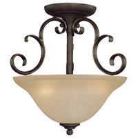 Craftmade 24263-MB Barrett Place 3 Light 15 inch Mocha Bronze Semi-Flushmount Ceiling Light in Light Umber Etched