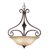 Torrey 3 Light 19 inch Burnished Armor Inverted Pendant Ceiling Light in Light Umber Etched