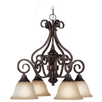 Craftmade 24924-BA Torrey 4 Light 25 inch Burnished Armor Down Chandelier Ceiling Light in Light Umber Etched