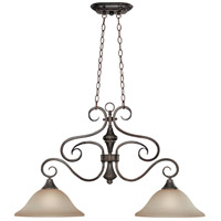 Craftmade 24942-BA Torrey 2 Light 36 inch Burnished Armor Island Light Ceiling Light in Light Umber Etched