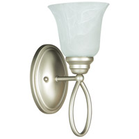 Craftmade 25001-SN Cordova 1 Light 6 inch Satin Nickel Wall Sconce Wall Light in Faux Alabaster Glass