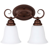 Cordova 2 Light 14 inch Old Bronze Vanity Light Wall Light in White Frosted Glass, Jeremiah