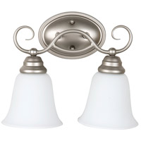 Cordova 2 Light 14 inch Satin Nickel Vanity Light Wall Light in White Frosted Glass, Jeremiah