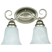 Craftmade 25002-SN Cordova 2 Light 14 inch Satin Nickel Vanity Light Wall Light in Faux Alabaster Glass