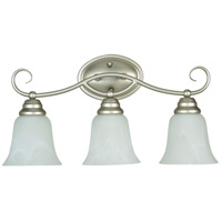 Cordova 3 Light 21 inch Satin Nickel Vanity Light Wall Light in Faux Alabaster Glass