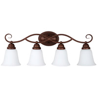 Cordova 4 Light 29 inch Old Bronze Vanity Light Wall Light in White Frosted Glass, Jeremiah