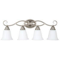 Craftmade 25004-SN-WG Cordova 4 Light 29 inch Satin Nickel Vanity Light Wall Light in White Frosted Glass, Jeremiah