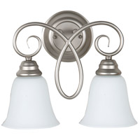 Cordova 2 Light 14 inch Satin Nickel Wall Sconce Wall Light in White Frosted Glass, Jeremiah