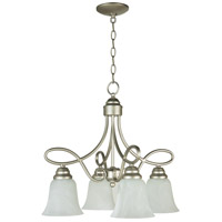 Craftmade 25024-SN Cordova 4 Light 21 inch Satin Nickel Down Chandelier Ceiling Light in Faux Alabaster Glass