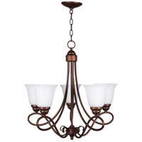Craftmade 25025-OLB-WG Cordova 5 Light 24 inch Old Bronze Chandelier Ceiling Light in White Frosted Glass, Jeremiah