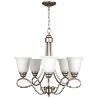 Cordova 5 Light 24 inch Satin Nickel Chandelier Ceiling Light in White Frosted Glass, Jeremiah