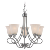 Craftmade 25025-SN Cordova 5 Light 24 inch Satin Nickel Chandelier Ceiling Light in Faux Alabaster Glass