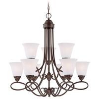 Craftmade 25029-OLB-WG Cordova 9 Light 29 inch Old Bronze Chandelier Ceiling Light in White Frosted Glass, Jeremiah