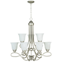 Craftmade 25029-SN-WG Cordova 9 Light 29 inch Satin Nickel Chandelier Ceiling Light in White Frosted Glass, Jeremiah