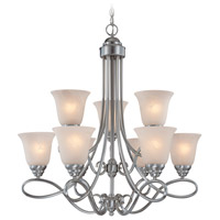 Cordova 9 Light 29 inch Satin Nickel Chandelier Ceiling Light in Faux Alabaster Glass
