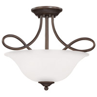 Craftmade 25033-OB-WG Cordova 3 Light 18 inch Old Bronze Semi Flush Mount Ceiling Light in White Frosted Glass Convertible to Pendant