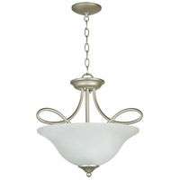 Craftmade 25033-SN-WG Cordova 3 Light 18 inch Satin Nickel Semi Flush Mount Ceiling Light in White Frosted Glass, Convertible to Pendant
