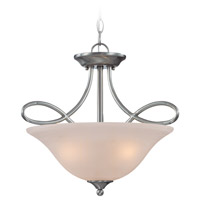 Craftmade 25033-SN Cordova 3 Light 18 inch Satin Nickel Semi-Flushmount Ceiling Light in Faux Alabaster Glass, Convertible to Pendant