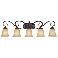 Craftmade 25105-ET Stanton 5 Light 37 inch English Toffee Vanity Light Wall Light in Tea-Stained Glass