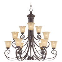 Craftmade 25112-ET Stanton 12 Light 43 inch English Toffee Chandelier Ceiling Light in Tea-Stained Glass